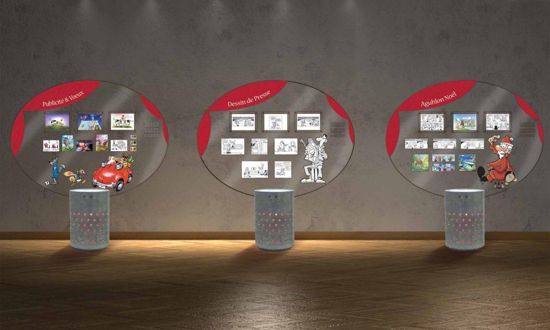 exposition 15 ans sur Sen modules béton et plexis éclairés