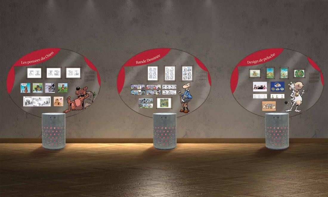 exposition 15 ans sur Sen modules béton et plexis éclairés.