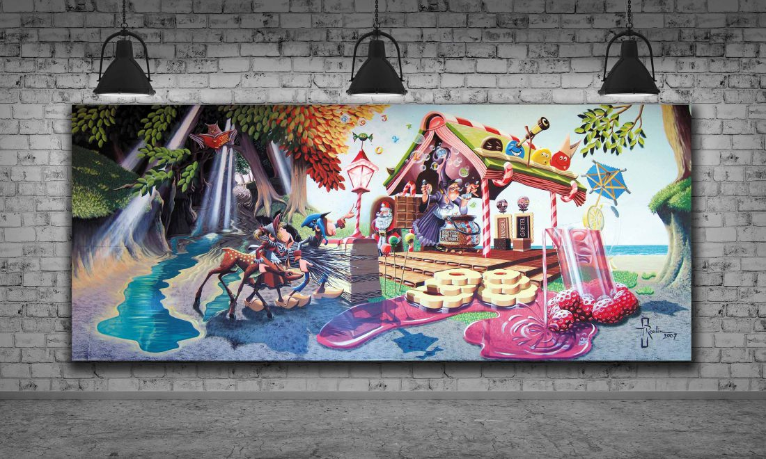 peinture murale pour une école primaire hansel et gretel 9mx3m